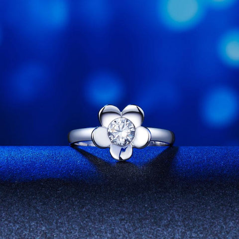 Butterfly Flower Ring Set in Sterling Silver