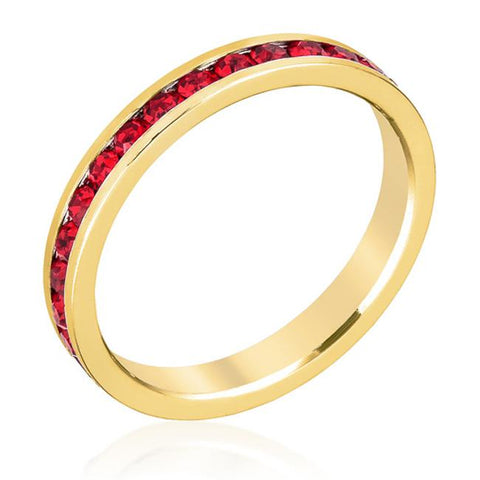 Stylish Stackables Ruby Red Gold Ring