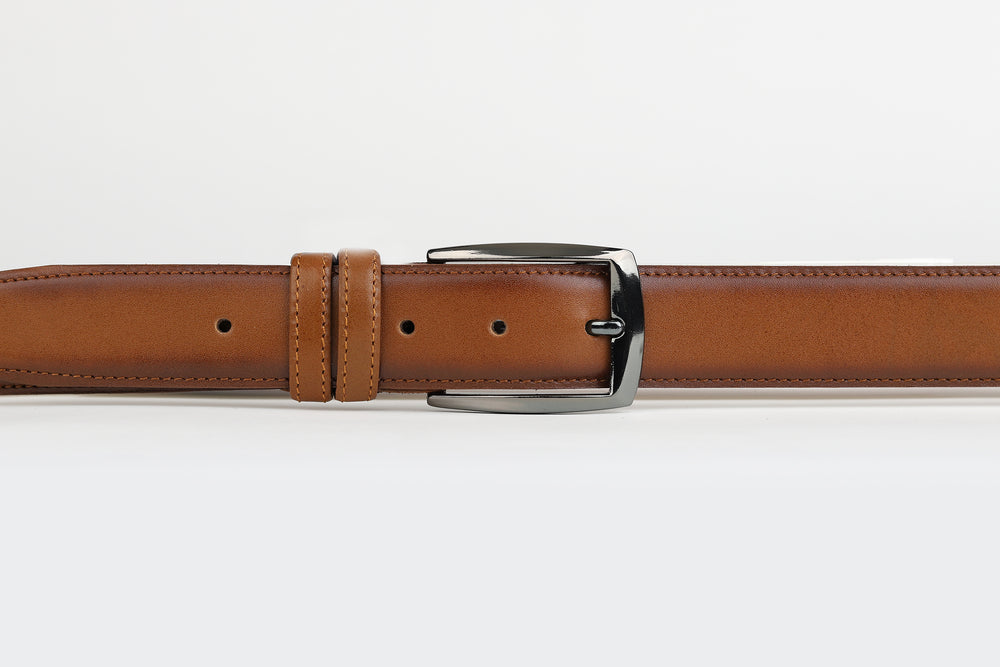 Tan - Plain Leather Belt