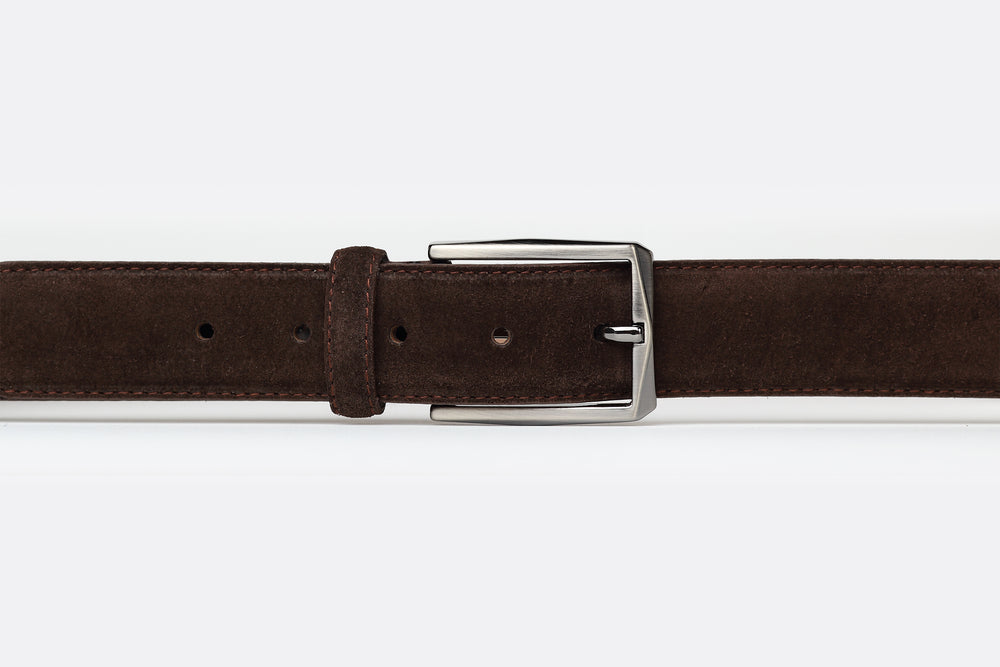 Brown - Plain Suede Leather Belt