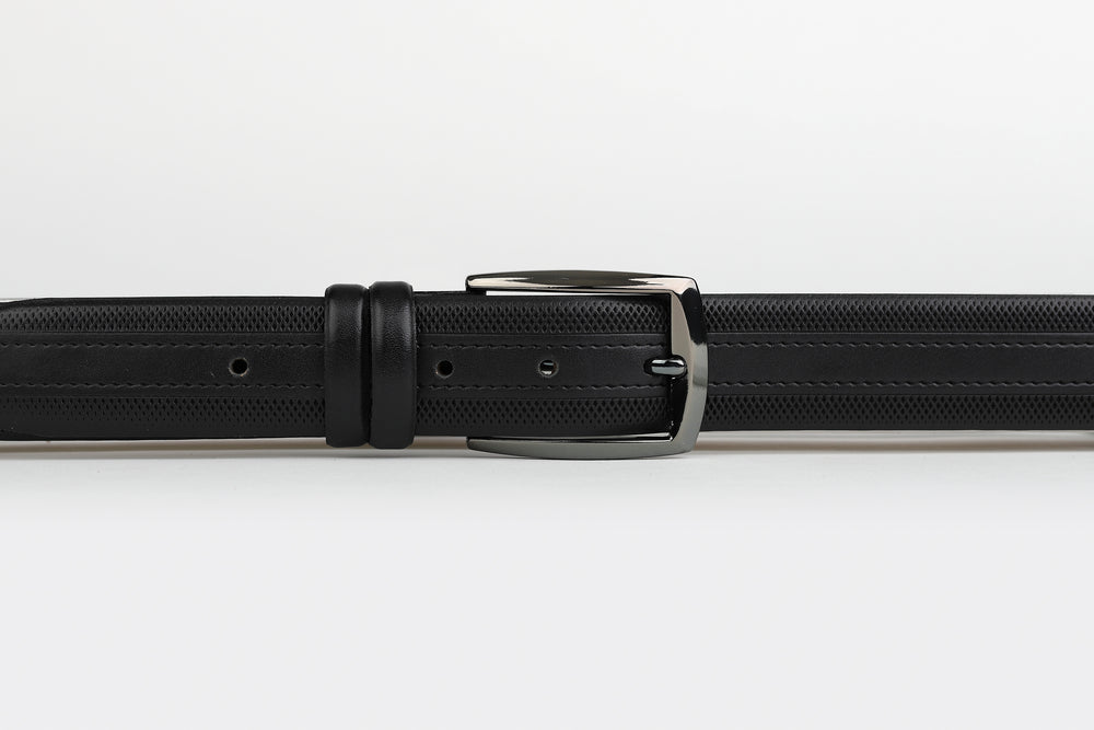 Black - Subtle Stripe Grid Edge Leather Belt