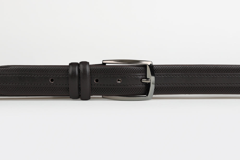 Brown - Subtle Stripe Grid Edge Leather Belt