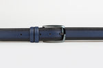 Dark Blue - Subtle Stripe Grid Edge Leather Belt