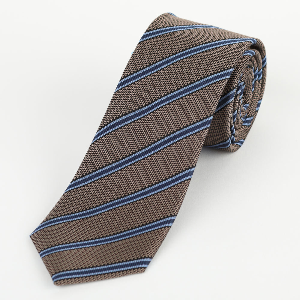 Tan - Striped Textured Silk Tie