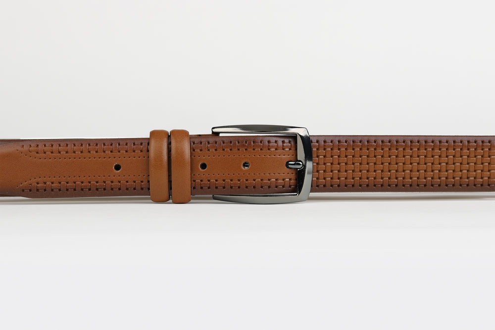 Tan - Basket Weave Leather Belt
