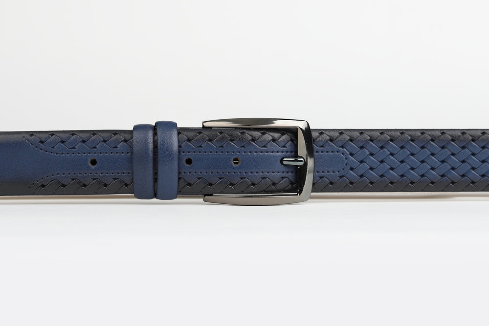 Dark Blue - Platted Weave Leather Belt
