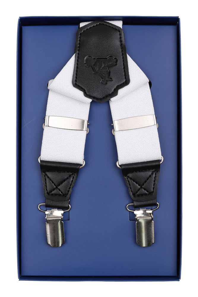 White Grosgrain Textured Weave Mens Braces