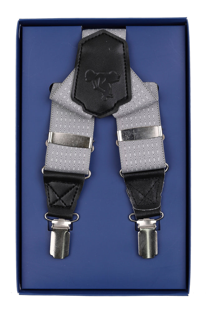 Silver/White Mini Spot Textured Weave Mens Braces