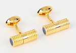 Gold/Blue - Tubular Gridded Cuff Links