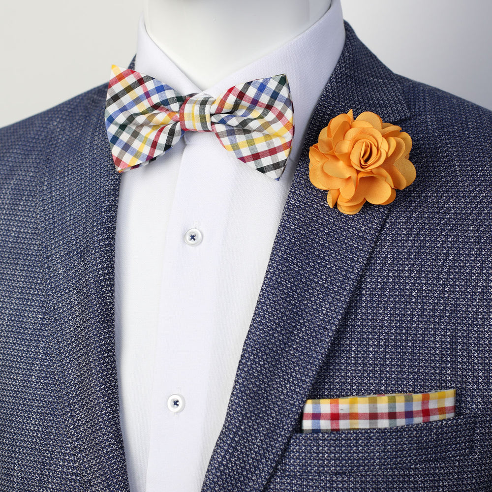 Multi Colored  - Mini Check Bow Tie, Pocket Square and Gold Flower Combo Set