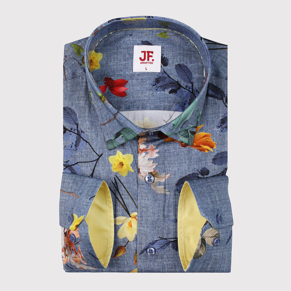 JF326 Denim Effect Multi Floral Print Shirt