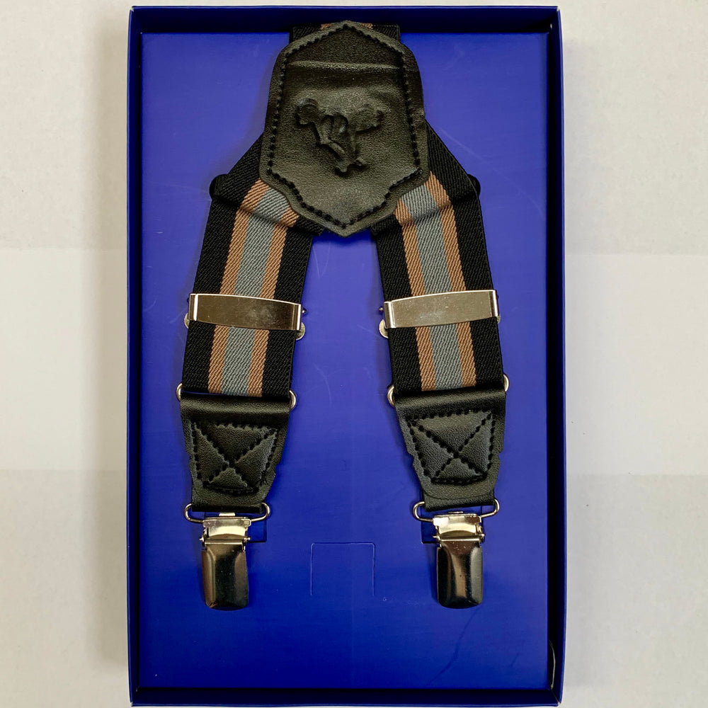 Black/Tan/Grey - Striped Mens Braces