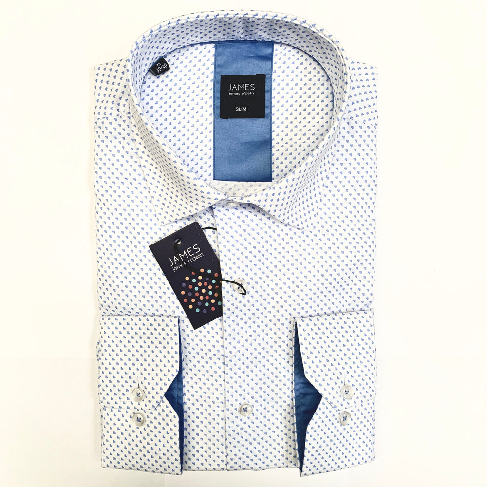 White/Blue Textured Spotted Weave Luxury Pure Cotton Shirt