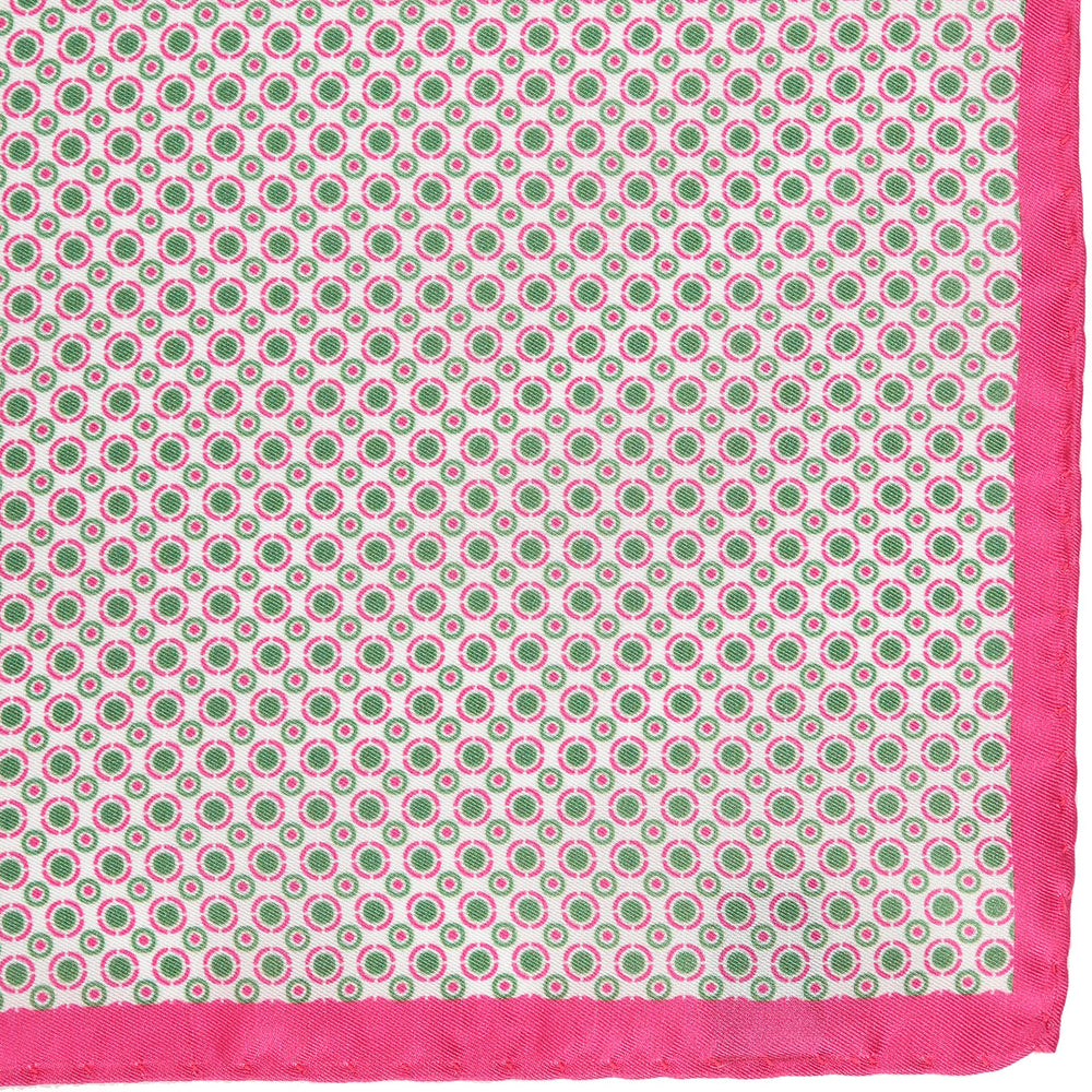 Pink - Geometric Circles Italian Printed Silk Pocket Square