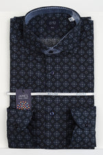 Navy/Blue - Geometric Medallion Italian L/S Shirt