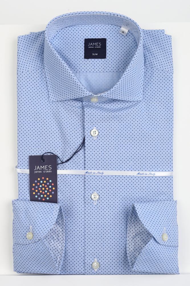 Sky - Spotted Subtle Prince of Wales Check Italian L/S Shirt