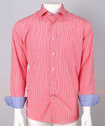 Red/Blue - Gingham Check L/S Business Shirt