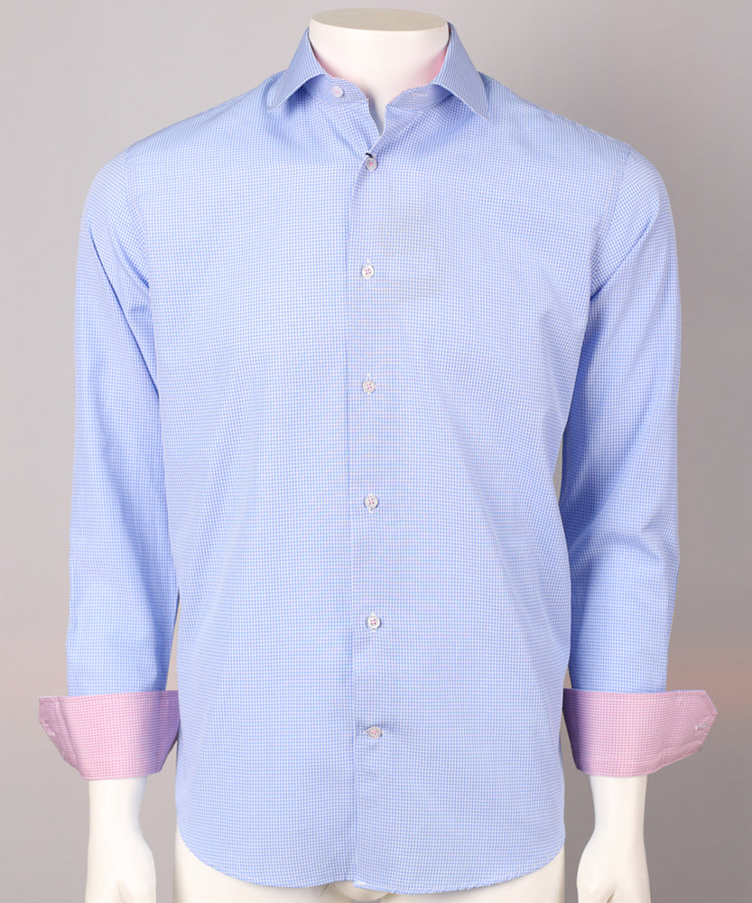 Sky/Pink - Gingham Check L/S Business Shirt