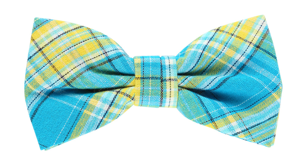 Turq/Gold/White - Check Bow Tie, Pocket Square and Aqua Flower Combo Set