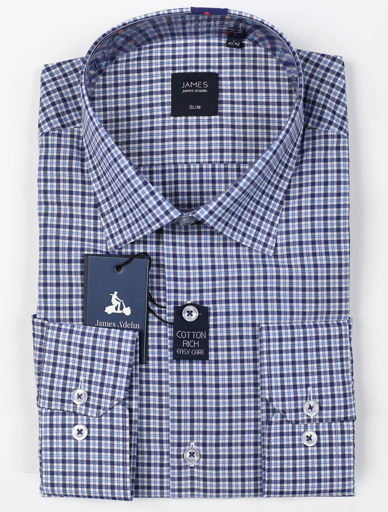 Navy/Blue - Mini Check L/S Shirt