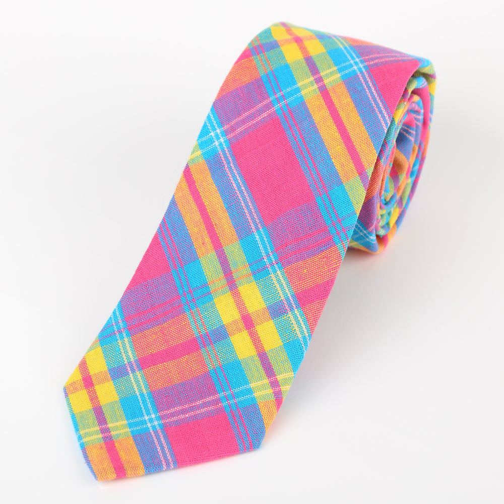 Pink/Turq/Gold - Check Cotton Tie