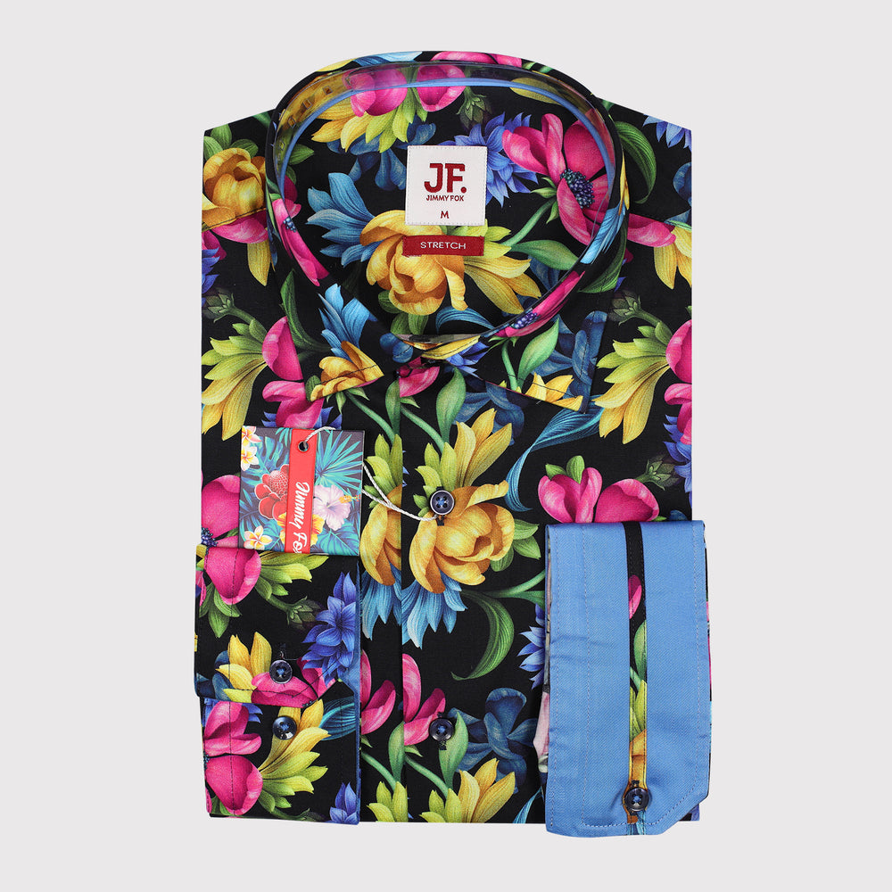 Summer Floral Print Poplin Stretch Slim Fit L/S Shirt