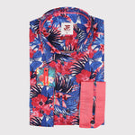 Floral Print Poplin Stretch Slim Fit L/S Shirt