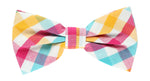 Turq/Gold/Magenta - Check Bow Tie, Pocket Square and Magenta Flower Combo Set