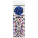Multi Colored - Mini Check Bow Tie, Pocket Square and Royal Flower Combo Set