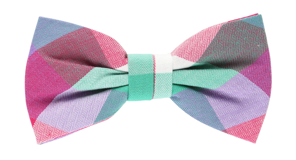 Multi Colored - Block Check Bow Tie, Pocket Square and Magenta Flower Combo Set