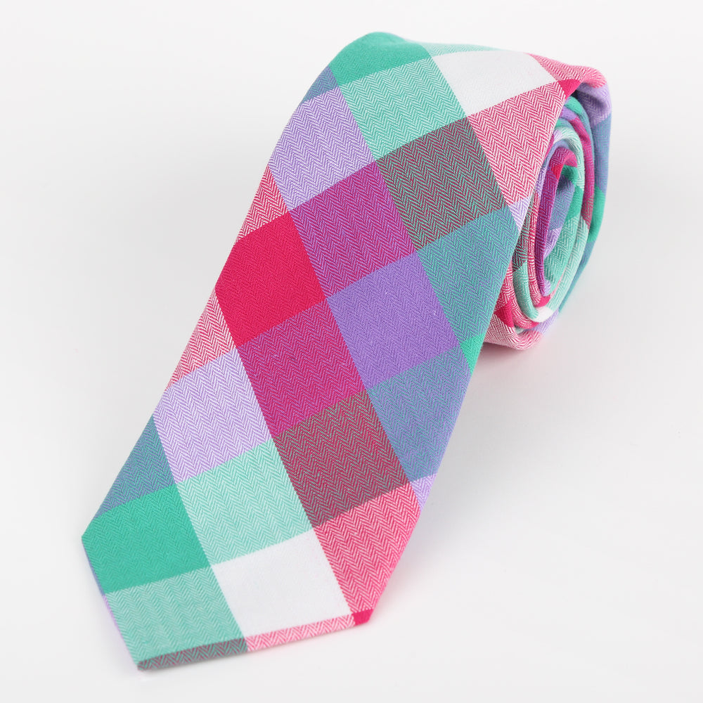 Multi Colored - Block Check Cotton Tie