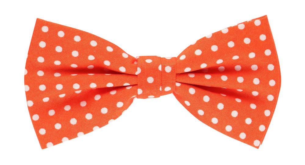 Orange/White - Polka Dot Bow Tie, Pocket Square and Flower Combo Set