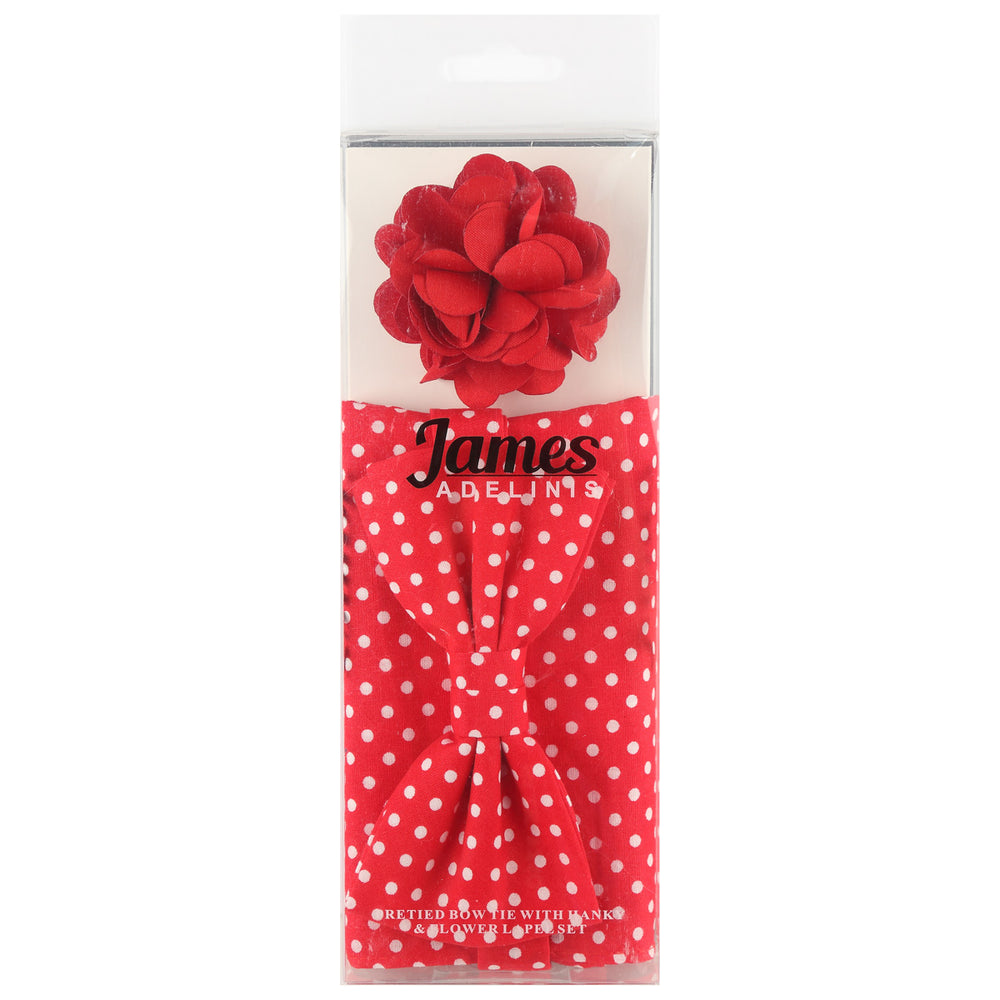 Red/White - Polka Dot Bow Tie, Pocket Square and Flower Combo Set