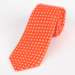 Orange/White - Polka Dot Cotton Tie