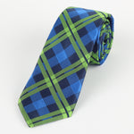 Navy/Royal/Lime - Check Microfiber Neck Tie