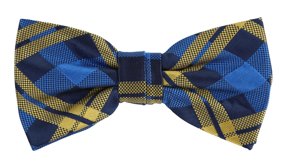 Navy/Royal/Gold - Check Microfiber Bow Tie