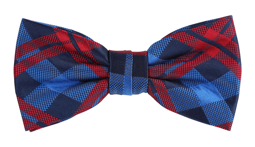 Navy/Royal/Red - Check Microfiber Bow Tie