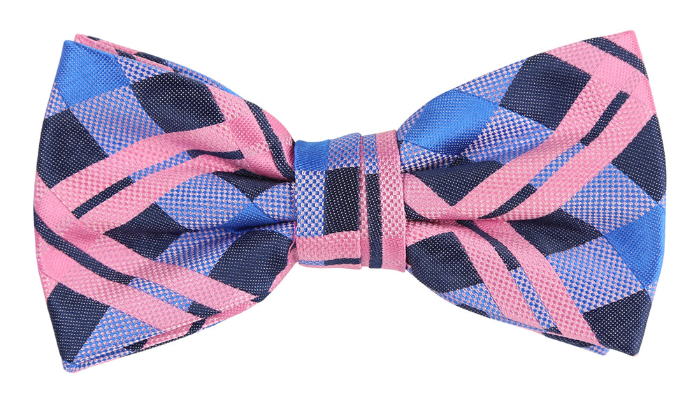 Navy/Purple/Pink - Check Microfiber Bow Tie