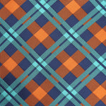 Navy/Orange/Aqua - Check Microfiber Pocket Square