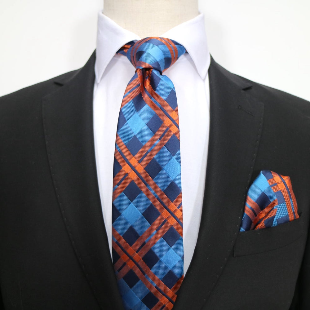 Navy/Blue/Orange - Check Microfiber Pocket Square