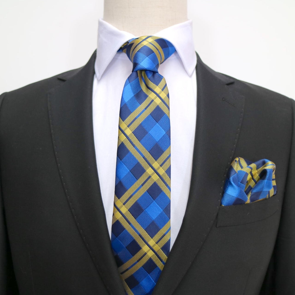 Navy/Royal/Gold - Check Microfiber Neck Tie