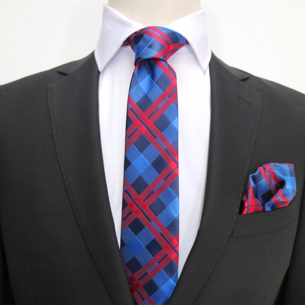 Navy/Royal/Red - Check Microfiber Pocket Square