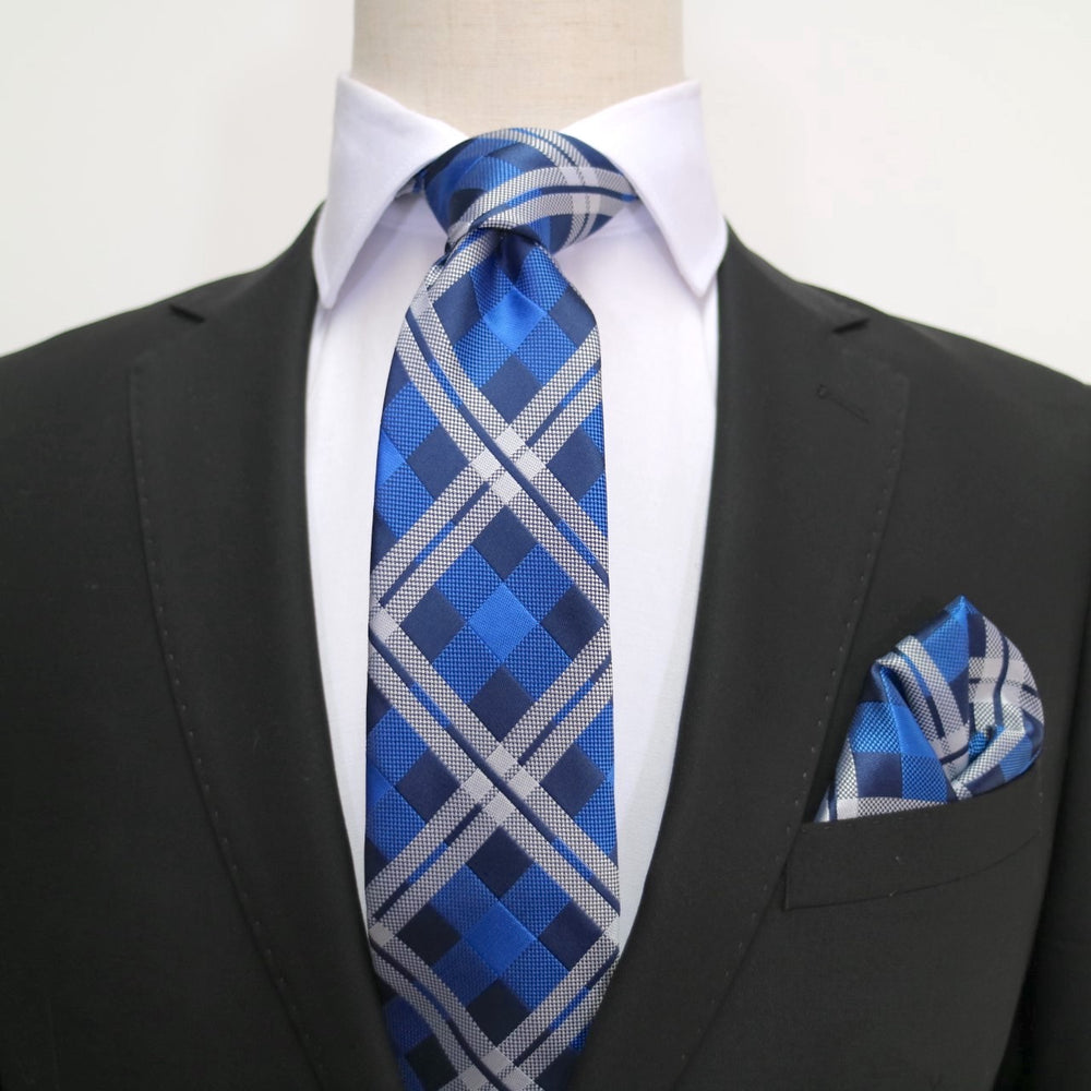 Navy/Royal/Silver - Check Microfiber Pocket Square