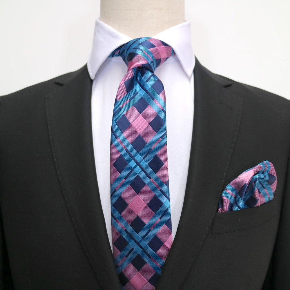 Navy/Pink/Turq - Check Microfiber Pocket Square