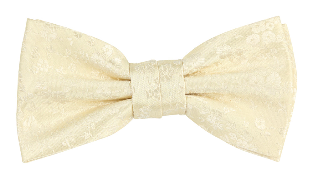 Ivory - Luxury Floral Contrast Microfiber Bow Tie
