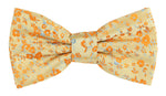 Gold/Orange/Turq - Luxury Floral Contrast Microfiber Bow Tie