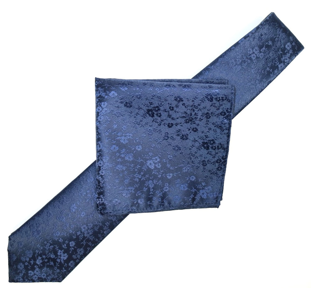 Navy - Luxury Floral Contrast Microfiber Pocket Square
