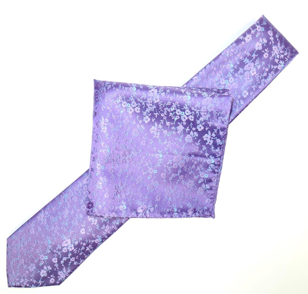 Purple/Lilac/Turq - Luxury Floral Contrast Microfiber Pocket Square