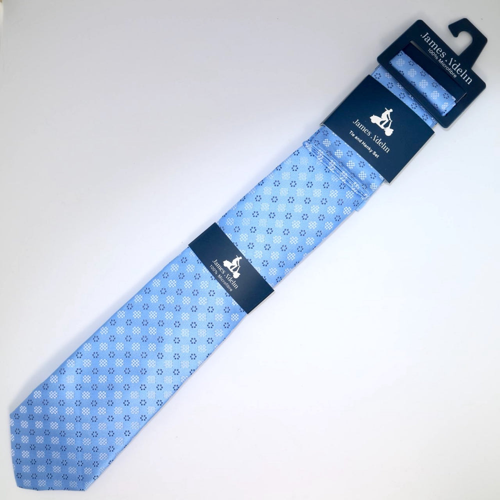 Sky/Navy - Geometric Tie & Pocket Square Combo Set