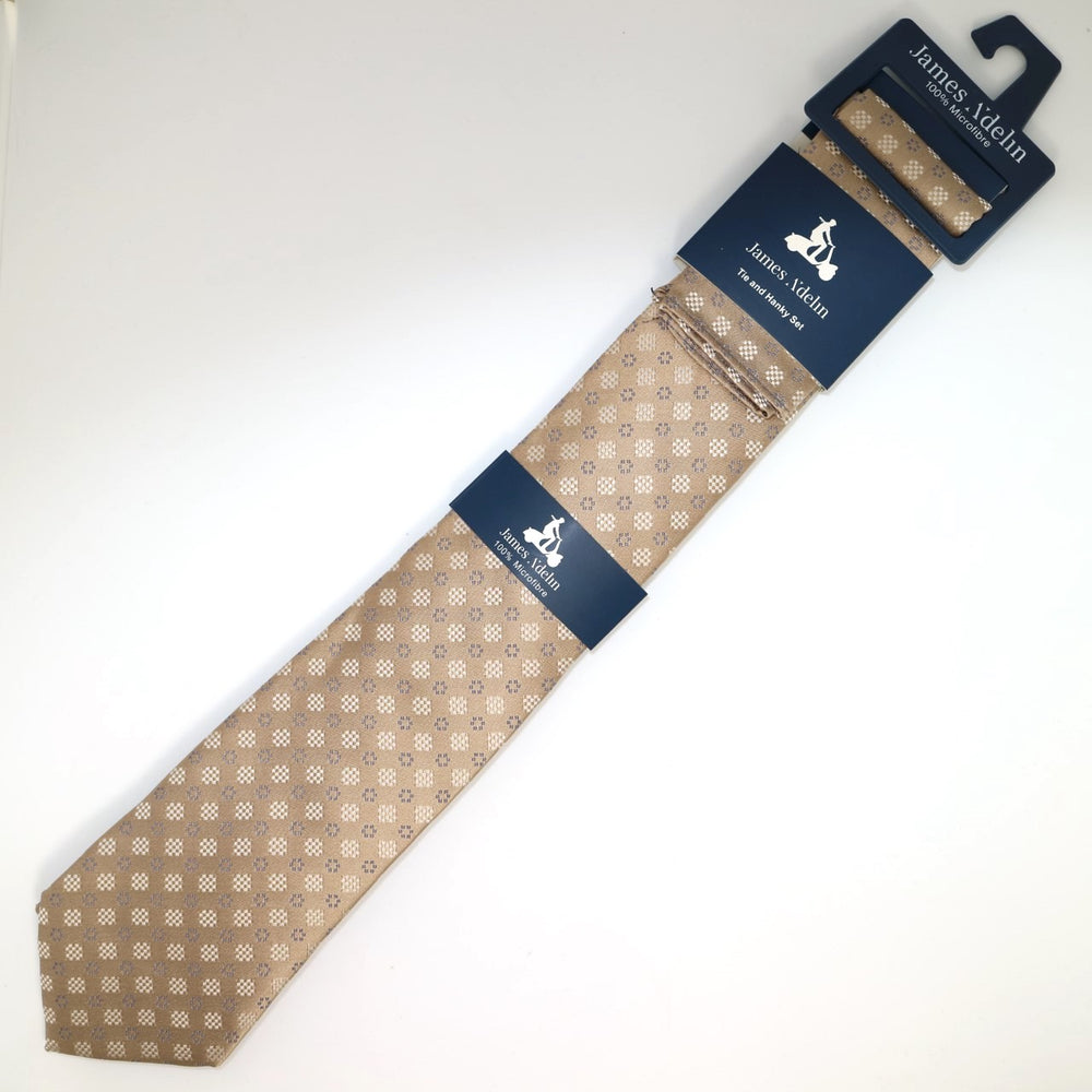 Nugget/Taupe - Geometric Tie & Pocket Square Combo Set